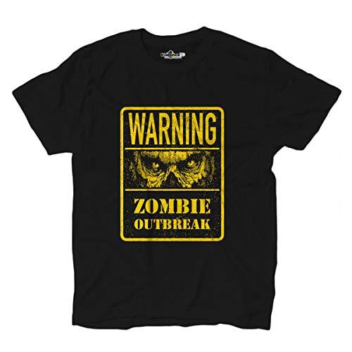 KiarenzaFD Zombie Outbreak Horror Dead Mostri Warning Shirts T-Shirt, KTS02551-S-black, schwarz, S
