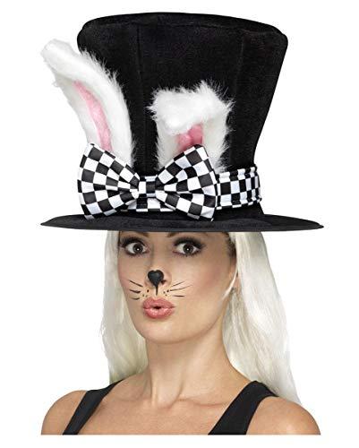 Horror-Shop Alice im Wunderland Zylinder mit Kaninchen-Ohren (Weiße Kaninchen Alice Im Wunderland Kostüm)