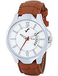 WRIGHTRACK Exclusive Quartz Movement Leather Strap Day & Date White Dial Analogue Men's and Boy's Wrist Watch (WT516)
