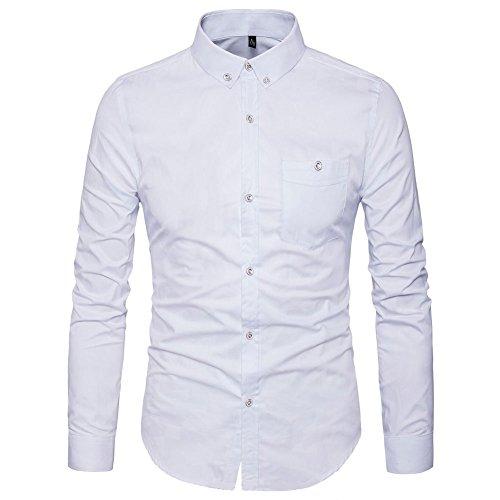 AIYINO Men's Long Sleeve Shirts Button Front Cotton Slim Fit Plain Color XS-XL