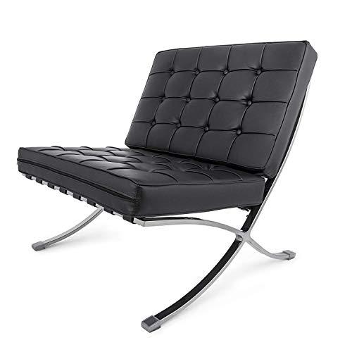FlowerW Retro Chair Barcelona Stil Lounge Chair PU Leder Komfortable Chair Chaise Lounge Chair für Wohnzimmer Portico Office (Stuhl,Schwarz) -