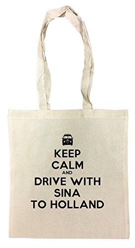 keep-calm-and-drive-with-sina-to-holland-bolsa-de-compras-de-algodon-reutilizable-cotton-shopping-ba