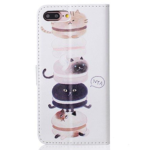 iPhone 7 Plus Hülle, iPhone 8 Plus Hülle, iPhone 7 Plus / 8 Plus Hülle Muster, iPhone 7 Plus / iPhone 8 Plus Leder Wallet Tasche Brieftasche Schutzhülle, BONROY 3D Bunte Retro Muster Ledertasche Elega Kätzchen