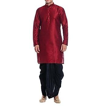 Royal Men's Red Maroon Silk blend Festive Dhoti Kurta Set
