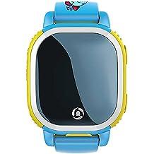 HuntGold Tencent QQ-teléfono portátil de seguridad para niños de la moda localizador GPS SOS LBS SMS reloj inteligente--Azul