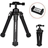 Coman Portable Camera Tripod, 24.4 Inches Aluminum Compact Desktop Mini Tripod With 360 Degree Ball Head Phone Holder For DSLR Digital Camera, Smartphone And Gopro (Mt60 Black)