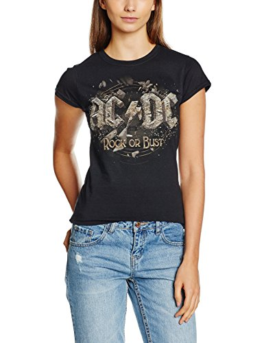 CID Ac/Dc-Rock Or Bust, T-Shirts Donna, Black, 40