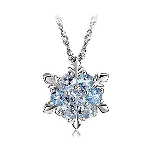Elisimo - Collana'fiocco di neve' in argento Sterling 925 con zirconi e Argento, colore: blu, cod. 551XDZ065