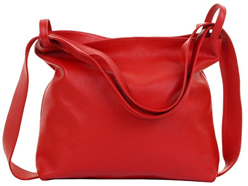 Primo Sacchi® Ladies Italian Red Textured Leather Pack Schultertasche Tasche Rucksack Rucksac. Incudes Branded Protective Storage Bag