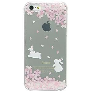 Cover iPhone 5/5S, TrendyBox Cute Case Cover per iPhone 5S 5 + 0.3mm Vetro Temperato Pellicola Protettiva + Gufo Cinghia Telefono (Fiori Di Ciliegio e Coniglio)