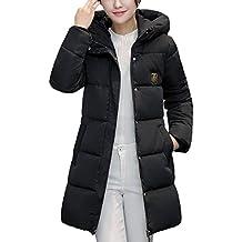 abc9fb10f96 Longra Grande Taille Doudoune à Capuche Femme Long Manteau Femme Hiver  Chaud Épais Uni Casual Vêtements