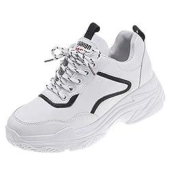 Makalon Damen Freizeit Round Toe weiße Schuhe Damen stilvolle Wedges Lässige Loafer leichte Gewichtung Turnschuhe Mädchen klassisch Trail Running Sportlich rutschfeste Turnhalle (37 EU, Schwarz)