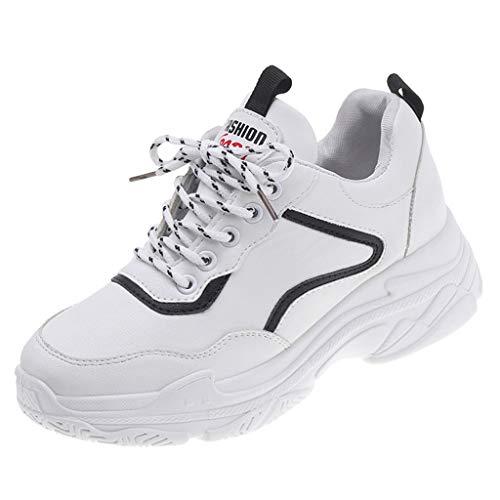 Sllowwa Damen Sneaker laufende Turnschuhe beiläufige Art- und Weiseeignung-Trainer-gehende Schuhe Solide Schnürschuhe mit runden Zehen und Keilabsatz