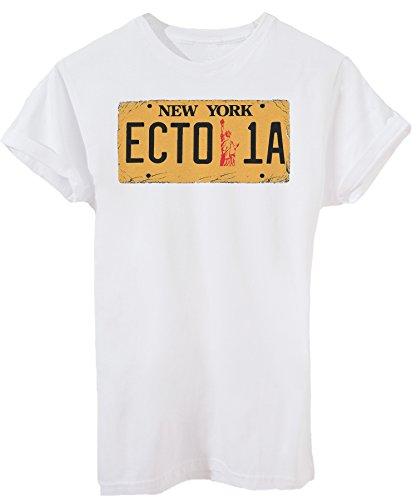 Nummernschild Ecto1 - Kino - iMage - Damen-XL -Weiß (Ghostbusters Halloween-party)