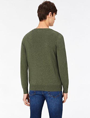 MERAKI Baumwoll-Pullover Herren mit V-Ausschnitt Grün (Khaki)
