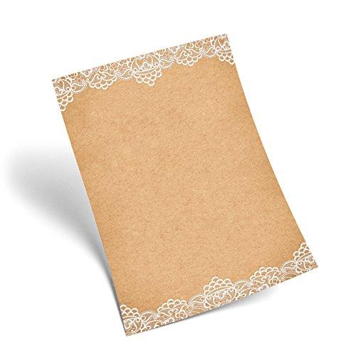 50 fogli di carta da lettere design, con motivo elegante bianco sui bordi, effetto vintage, marmorizzato, DIN A4, colore: beige/marrone