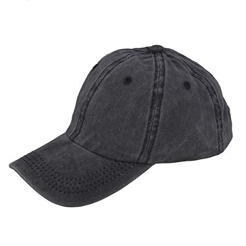 Blank Denim-denim (LIOOBO Denim Baseball Cap Schwarz Baseball Cap Retro Blank Baseball Mütze Peak Cap für Frauen Männer (Schwarz))