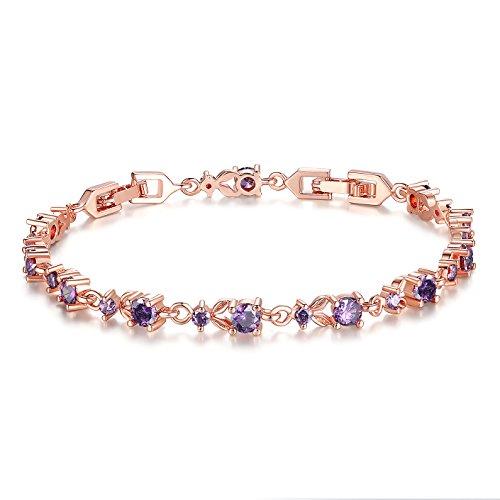 Wostu Luxus Schlanke Rose Gold überzogenes Armband mit lila Funkelnde Zirkonia Steine für Frauen (Gold Lila Modeschmuck Und)