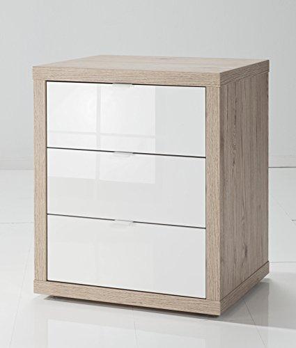Composad cassettiera ufficio a tre cassetti in rovere e laccato bianco con ruote, unica