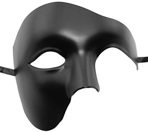 Coofit Phantom der Oper Maske Venezianische Halbe Gesicht Maske Maskerade Maske für Männer (One Size, Black) (Das Phantom Der Oper Maske)