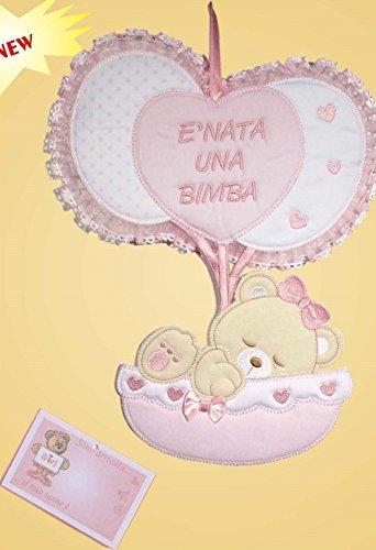 Fiocco nascita palloncini non da ricamare (rosa)