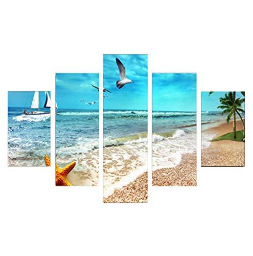 NYQART Leinwandbilder- 5 teilig Leinwand Meerblick von Sandy Beach Palm Trees Golden Starfish Sea Gull Segelboot Blue Seas Bild Decor Öl Für Moderne Heimdekoration Druck Modern,Massivholzrahmen