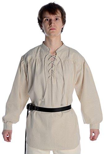 HEMAD Mittelalter Hemd Schnürhemd Stehkragen Hemd hanffarben XL (Mittelalter Kleidung Kostüme)