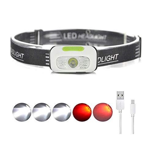 LUXJUMPER LED Stirnlampe Weiß Rot Licht Kopflampe USB Wiederaufladbare Wasserdicht Leichtgewichts Mini Stirnlampe 5 Leuchtmodi Perfekt fürs Laufen Jogging Campen