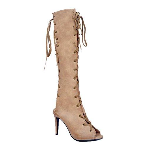 Kolnoo Damen Handmade Fashion Boots Gewirr Sling Peep-Toe High Heel Sexy Party-Sommer-Schuhe Beige