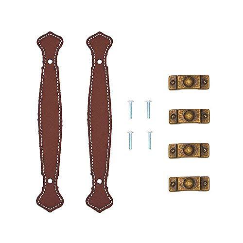 KOBWA Satz von 2 Retro Leder Schublade Griff Ledermöbel Griff für Zieht/Knöpfe / Griffe/für Aktenkoffer Koffer Weinschrank Holzkiste Kleiderschrank Shoebox Schrank