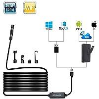 Endoscopio iPhone, 2,0 Megapíxeles 1080P HD WiFi Boroscopio, 8.5mm IP68 Impermeable Cámara de Inspección de Tuberías con 8 Luces del LED para Andorid y IOS Smartphone, iPhone, Tablet - 5 Metros