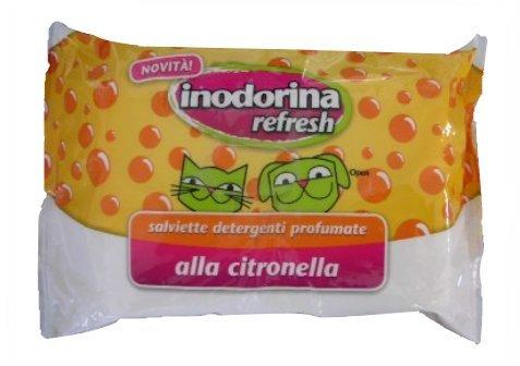 Salviette profumate Inodorina Refresh 40 pz - Salviettine detergenti in più profumazioni per cani, gatti e cuccioli (Citronella)