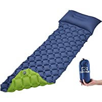 GEEDIAR Inflatable Sleeping Mat Ultralight Camping Mattress with Pillow, Waterproof Double-Sided Color Sleeping Pad, Folding Inflating Single Bed Portable Air Pad for Trekking Backpacking (Blue+Green)