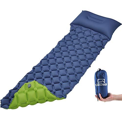 GEEDIAR Camping Isomatte Ultraleicht aufblasbare Matratze mit Kissen 200X58X6 cm Farbe dunkel Blau und Grün aus TPU Nylon, Camping Schlafmatte kleines Packmaß für Trekking Backpacking und Strand