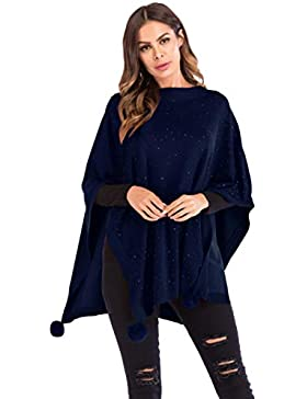 Xsayjia Poncho Chal Mujeres Suaves Suéter Jerséis Tejer Chaqueta Easy Cover Up Otoño Invierno