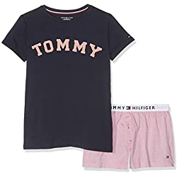 Tommy Hilfiger Girls' SS Short Set Woven Pyjama, Multicolour (Navy Blazer/Rose Tan 021), 14 Years