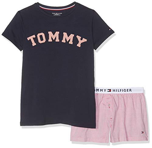 Tommy Hilfiger Mädchen SS Short Set Woven Zweiteiliger Schlafanzug, per Pack Mehrfarbig (Navy Blazer/Rose Tan 021), 152 (Herstellergröße: 10-12)