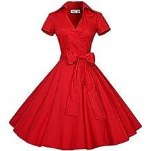 BOMOVO Vestidos 50s Retro Manga corta Audrey Hepburn Swing Pinup Polka Dots Rockabilly Dress