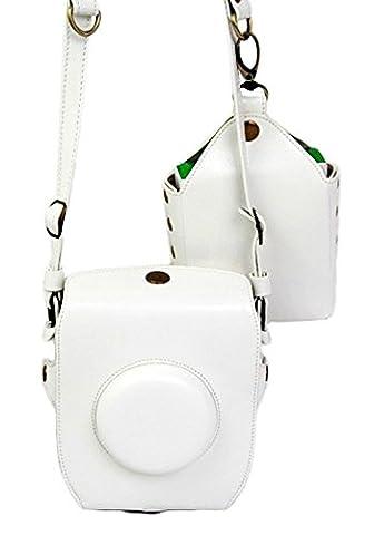 2-en-1 Mini Photo Accessoires Caméra PU Sacoche en cuir pour Fujifilm Fuji instax SQ-10 blanc