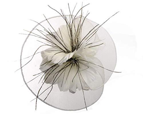 Flowing Water Fascinator Headband Hochzeits-Kopfstück Kopfbedeckung Feder Haarclip Cocktail-Party Für Frauen Mädchen,White