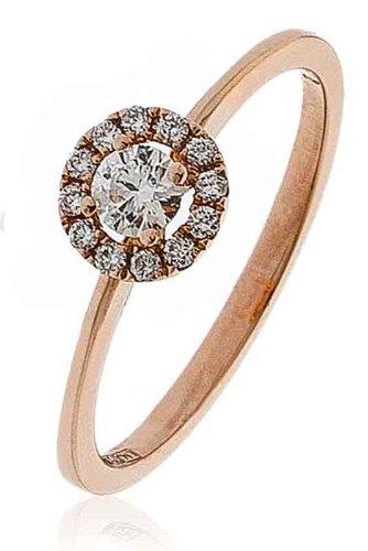 0.25ct Certificato G/VS2Round Brilliant Centro con forma rotonda Halo Diamante Anello In Oro Rosa 18K, oro rosa, 56 (17.8), cod. FL3308