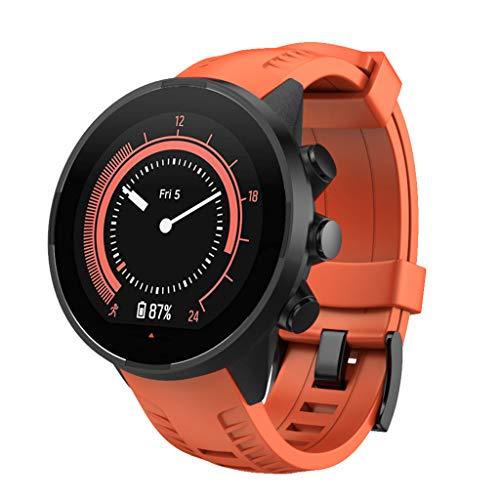 Karinao Armband für Suunto 9 Watch, Silikon Handgelenk Uhrenarmband Fitness Sport Ersatz Uhrband Wechselarmbänder für Suunto 9 Smartwatch - 5 Farben Universal Ersatzarmbände (Orange)