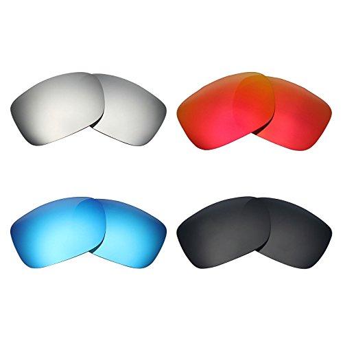MRY 4Paar Polarisierte Ersatz Gläser für Oakley Twoface sunglasses-stealth schwarz/fire rot/ice blau/silber titan