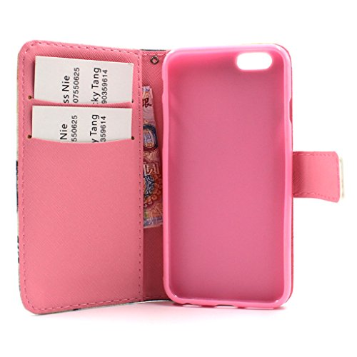 MOONCASE Étui pour Apple iPhone 6 / 6S (4.7 inch) Printing Series Coque en Cuir Portefeuille Housse de Protection à rabat Case Cover ZD13 ZD12 #1230
