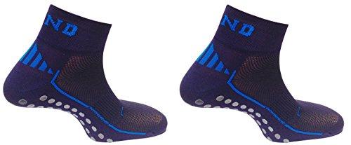 Mund Socks Pack Pilates: 2 Calcetines Antideslizante Nonslip, Antibacterias y Terapéutico con Puntos de Silicona en la Planta (Azul Marino, M (38-41))