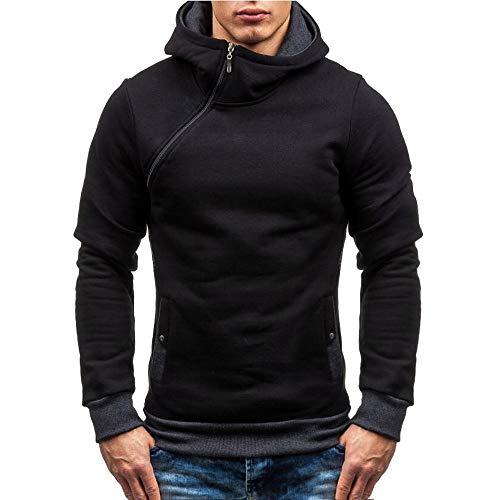 Felpa uomo,feixiang cappotto giacca cardigan felpe uomo con cappuccio moda in cotone,felpe lavoro,tuta uomo l(nero,m)