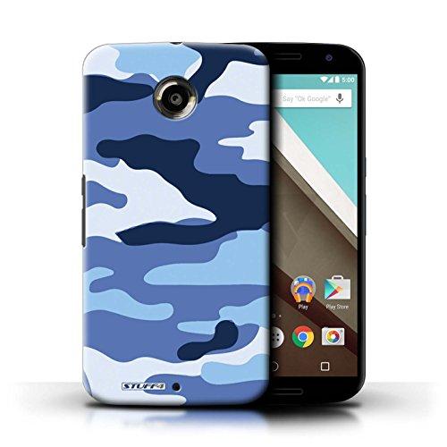 Kobalt® Imprimé Etui / Coque pour Motorola Nexus 6 / Blanc 1 conception / Série Armée/Camouflage Bleue 2