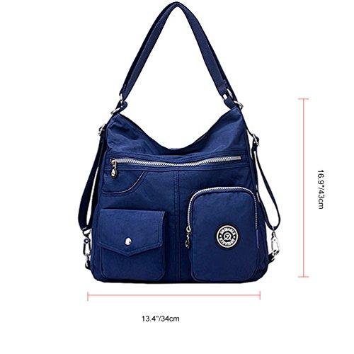 Vbiger Damen Nylon Schultertasche Kuriertaschen Spritzwassergeschützte Umhängetasche Große Kapazität Handtasche Mehrzweck Rucksack Blau