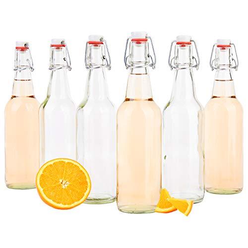 gelflasche 500 ml I Bierpulle rund I klare Glasflaschen zum Befüllen I Most, Saft, Bier, Schnaps, Likör, Essig & Öl I Drahtbügelverschluss ()