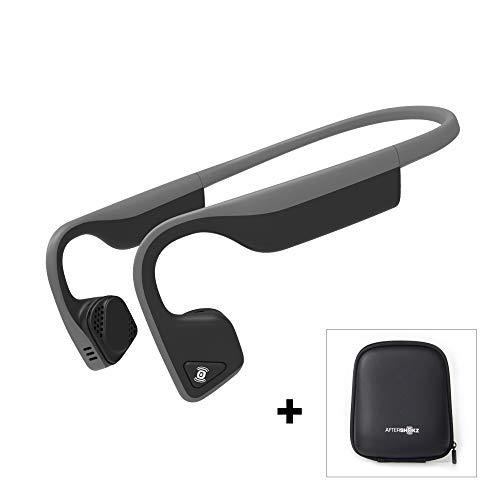 AfterShokz Trekz Titanium - Écouteurs à Conduction Osseuse (Oreilles Libres/Open Ear),Casque Audio avec Micro, Casque Bluetooth sans Fil pour Sport avec Étui de Transport, Gris